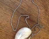 Vintage Mother of Pearl Shell Purse and Rhinestone Necklace from Accessocraft NYC - 1930's