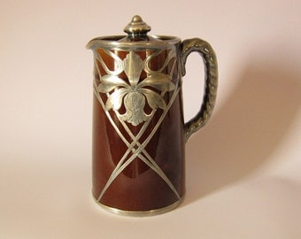 Free Ship, Vintage Heavy Silver Overlay Brown Glazed Large Creamer (or small pitcher) with Lid, Art Nouveau