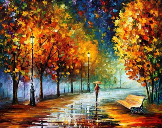 "Fall Marathon — PALETTE KNIFE Landscape Oil Painting On Canvas By Leonid Afremov - Size: 40"" x 30""(100cm x 75cm)"