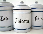 French vintage set of 4 enamel kitchen canisters in white with royal blue stripe. French country cottage chic