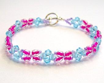 Pink and turquoise bracelet, pink bracelet, turquoise bracelet, summer bracelet, friendship bracelet