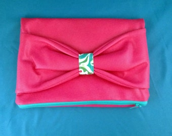 Hot Pink Vinyl Foldover Bow Clutch