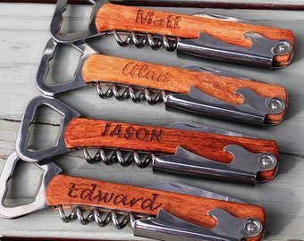 Personalized Corkscrew and Multi-Tool - Groomsmen Gifts - Wedding Party Gifts - Wine Opener - Engraved, Customized, Monogrammed for Free
