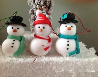 Fimo Snowman Christmas hanging decoration