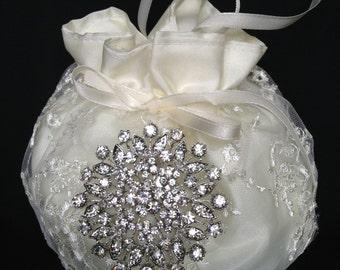 Bridal Money Purse, Ivory or White  Lace Wedding Bag, Wedding Purse, Rhinestone Embellishment
