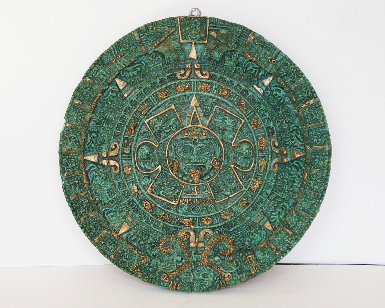 Vintage Aztec Mayan Jade Look Green Stone Wall Relief Plaque