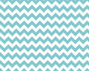 Riley Blake Small Chevron Aqua Blue 1 1/2 Yards Cotton Fabric