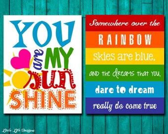 Rainbow Wall Art. Rainbow Party Decor. Rainbow Birthday Party. Rainbow Signs. You are my Sunshine. Somewhere over the Rainbow skies are blue