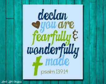 Fearfully & Wonderfully Made Sign. Personalized Boy Wall Art. Boys Nursery Decor. Baby Shower Gift. Christian Wall Art. Psalm 139:13 Verse