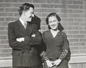 He Loved His Little Sister - 1940's Snapshot Photo - Free Shipping