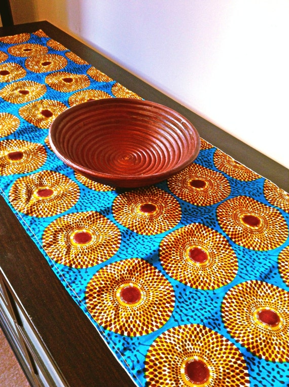 Royal blue African print table runner