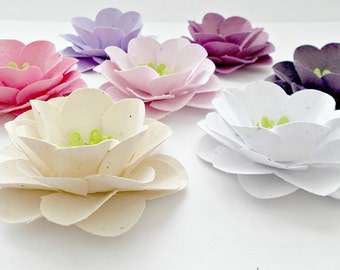 Exceptional 12 Large Plantable Paper Flowers   Roses   Eco Friendly Seeded Paper  Embedded With Flower Seeds