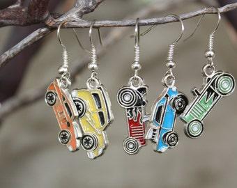 Race car earrings
