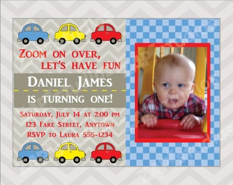 Cute Cars First Birthday Party Invitation -Printable Digital File-