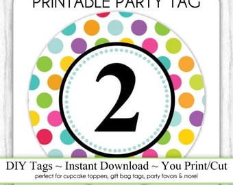Instant Download - Polka Dot Printable Party Tag, 2nd Birthday Party Tag, DIY Cupcake Topper, You Print, You Cut