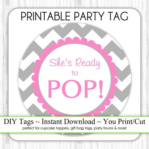 ready to pop stickers template - she 39 s ready to pop printable party tag gray and hot pink