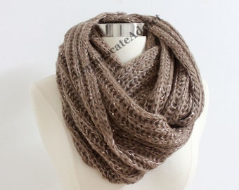 Chunky Mocha Brown Knit Scarf with Metallic Threads Brown Taupe Infinity Scarf Soft Knit Scarf Winter Scarf Christmas Gift