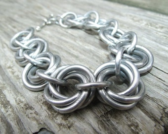 Chunky Silver Chainmail Bracelet - Silver Chainmail, Chunky Bracelet, Chainmail Jewelry, Chainmaille Bracelet, Silver Bracelet