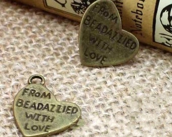 20 pcs   antiqued bronze Made With Love Heart Charm Heart Shaped Pendants 18mm