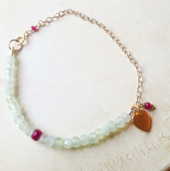Prehnite and Ruby Bracelet Gold Lotus  Mint Green Gold Filled Chain July Birthstone  Yoga  Heart Chakra