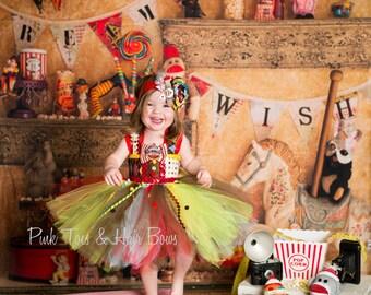 Circus tutu dress-vintage clown costume-Clown tutu dress- circus clown party birthday dress