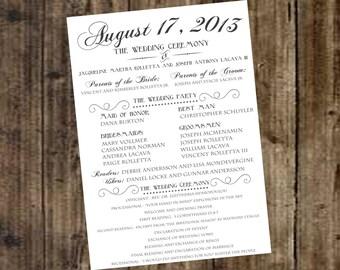 Wedding Program - Ivory, Off White, DIY Printable, Ceremony, Reception, Rustic, Farm, Outdoor, Contemporary, Modern Casual, Classic, Elegant