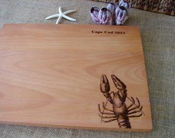 Lobster Custom Cutting Board Fishing Friends Fisherman Anniversary Gift Housewarming Present Holiday Present Christmas Gift