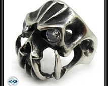 NEW Solid Brass Hollow Out Vampire Skull Ring Size 9, 10, 11