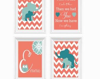 Elephant Nursery Decor Perconalized Name Quote Girl's room Custom Print Coral Sea Blue Baby's room Wall Art 4 X 8X10 Print Kids Room Decor