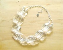 Crystal Clear necklace, crystal Chunky statement Necklace, Clear Lucite Necklace