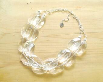 Crystal Clear necklace, crystal Chunky statement Necklace, Clear Lucite Necklace