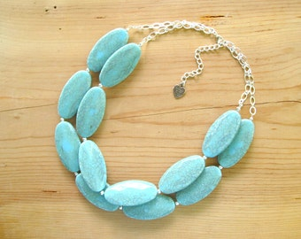 Turquoise statement necklace, Chunky turquoise necklace