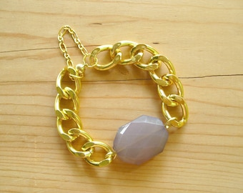 Chunky Gold Link Bracelet with Gray charm, Grey bracelet with chunky gold chain