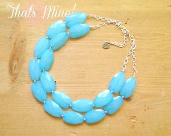 Turquoise Aqua statement necklace, Aqua statement necklace, multi strand necklace