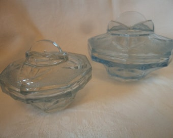 Vintage Set of Two Blue Art Deco Dressing Table Pots