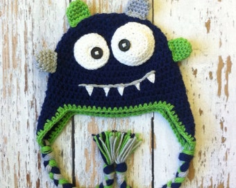 SALE Monster crochet hat blue 0-5T