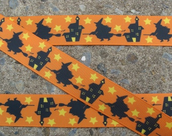 """3y Flying Witch Ribbon Halloween Ribbon Printed Ribbon 7/8"""" Hair Bow Ribbon Free Shipping for orders over 30.00"""