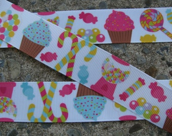 "3y Candy Land Ribbon Cup Cake Printed Ribbon 1"" 3 yards Ice Cream Ribbon Lollipop Ribbon"