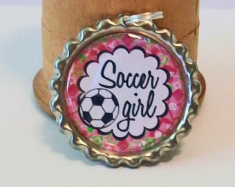 Cute Pink Flowers Soccer Girl Flattened Bottlecap Pendant Necklace