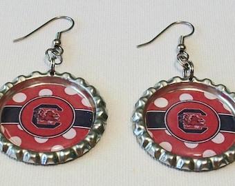 Black and Garnet Polka Dot South Carolina Gamecocks Inspired Metal Flattened Bottlecap Dangle Earrings