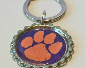 Orange and Purple Tiger Paw Clemson Tigers Inspired Metal Flattened Bottlecap Keychain