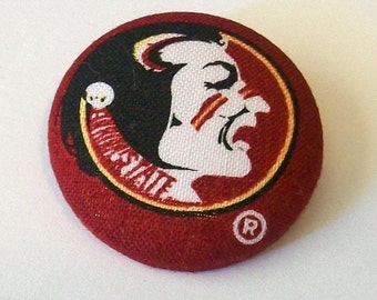 Garnet and Gold Florida Seminoles Inspired Unusual Large Fabric Button Pin Pendant Combo