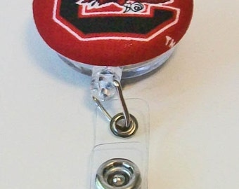 Fun Garnet South Carolina Inspired Fabric Button Retractable Badge Reel Clip