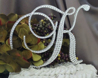 """5.5"""" Monogram Wedding Cake Topper Initial with Swarovski Crystals in any letter A B C D E F G H I J K L M N O P Q R S T U V W X Y Z"""