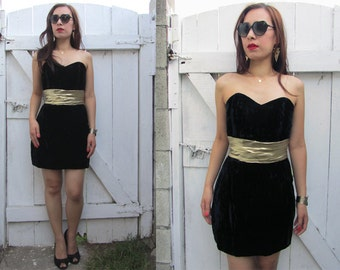 Vintage 80's BLACK VELVET Sweetheart Gold Lame Ruch Mini Party Dress XS/ S