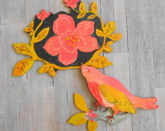 Pink Berry Bird original wood wall sculpture
