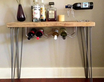 Wine Rack / Bar made from Reclaimed Wood w/ Hairpin Legs- Reclaimed Wood, Wooden Furniture