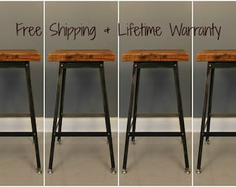 Set of 4  Barstools Any Height! Industrial Rustic Bar Stool, Wooden Furniture