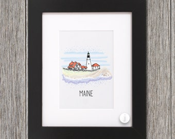 Maine Lighthouse Print - 8x10