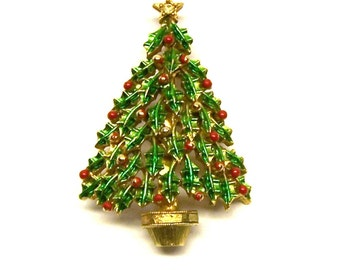 Holly Jolly Christmas Tree Brooch byJonette